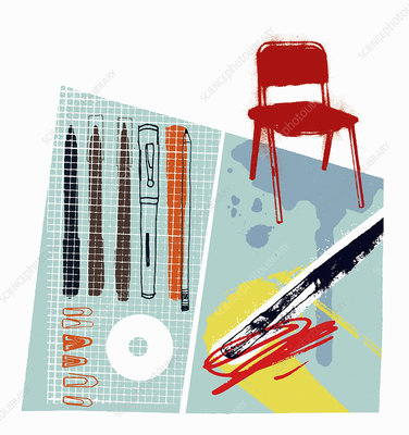 Graphic artist's pens and equipment, illustration