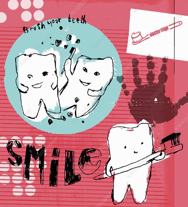 Poster encouraging children to brush teeth, illustration