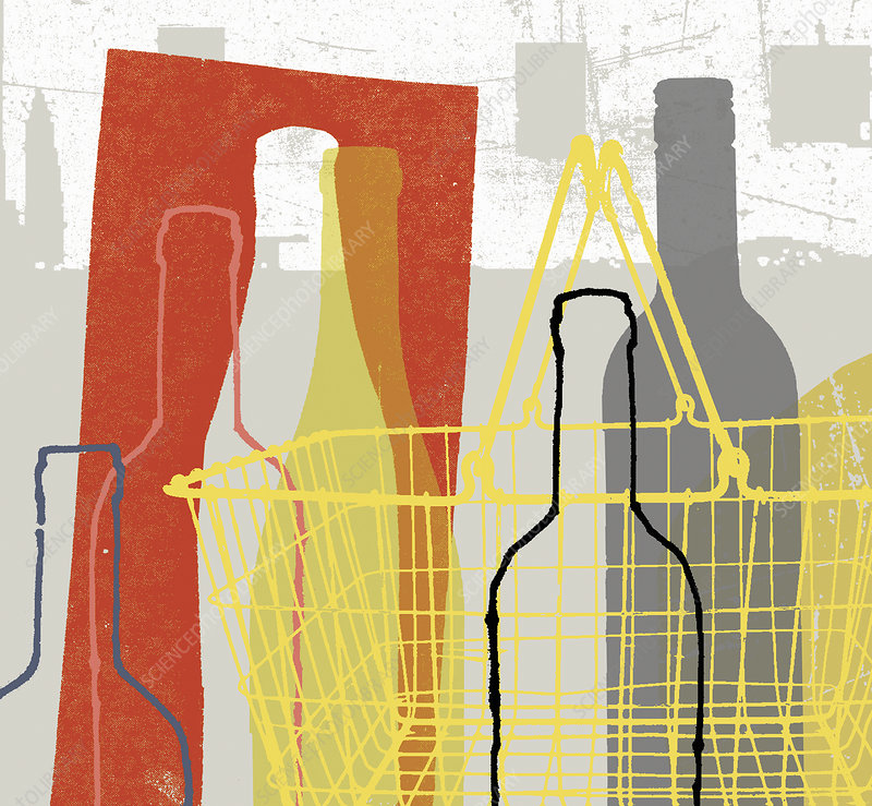 Shopping basket and wine bottles, illustration
