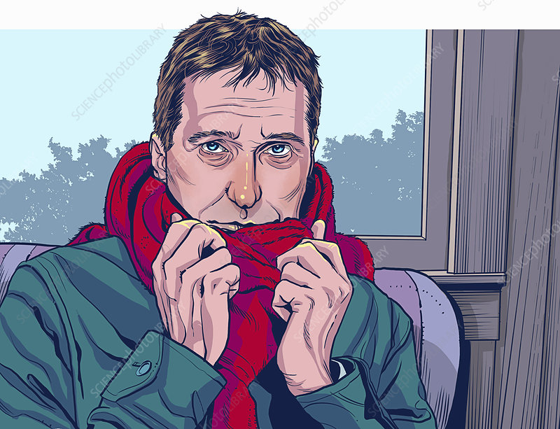Man sitting indoors wrapped in scarf, illustration