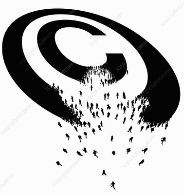 Copyright symbol breaking up into people, illustration