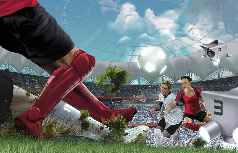 Futuristic game of soccer in stadium, illustration