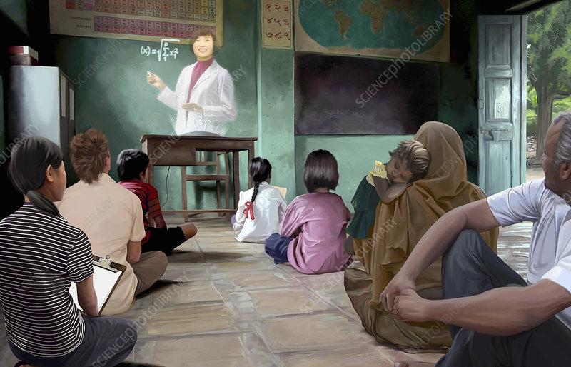 Classroom with futuristic hologram teacher, illustration