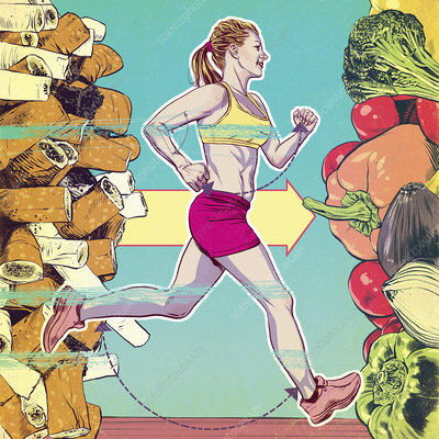 Woman running to healthy lifestyle, illustration