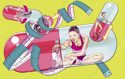 People exercising inside of supplements, illustration