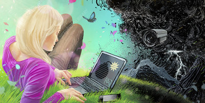 Woman using laptop with binary code time bomb, illustration