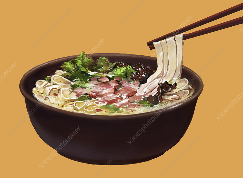 Chopsticks lifting noodles from bowl of food, illustration