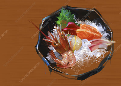 Bowl of prawns and seafood with rice, illustration