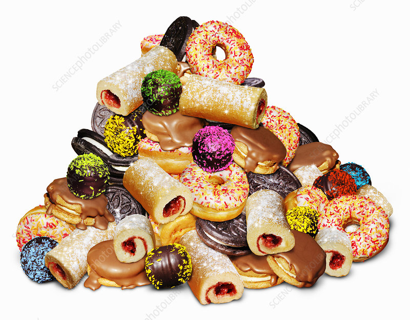 Pile of unhealthy sugary cakes, illustration