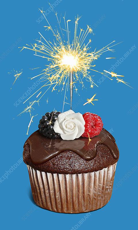 Chocolate cupcake with sparkler, illustration