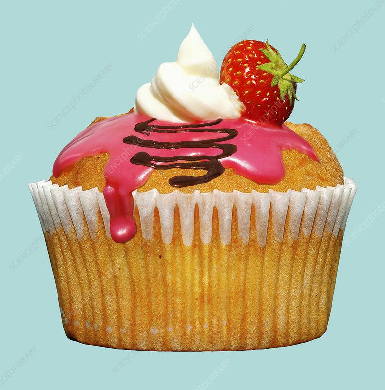 Strawberry cupcake, illustration