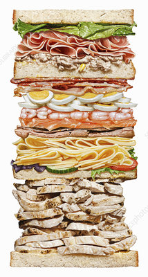 Huge sandwich with lots of layers, illustration