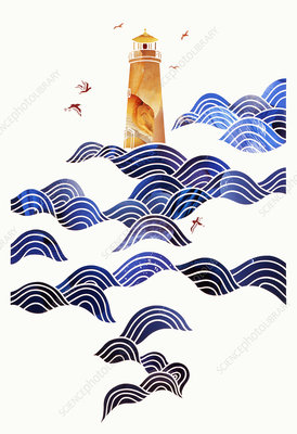 Birds flying round lighthouse in sea waves, illustration