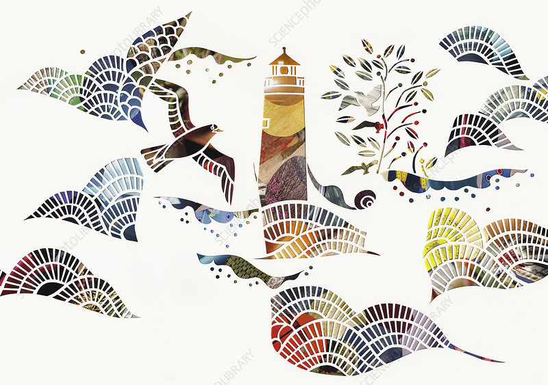 Birds and waves around lighthouse at sea, illustration