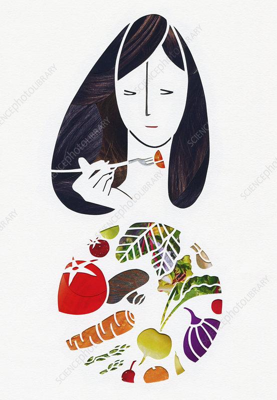 Woman eating fresh vegetables, illustration
