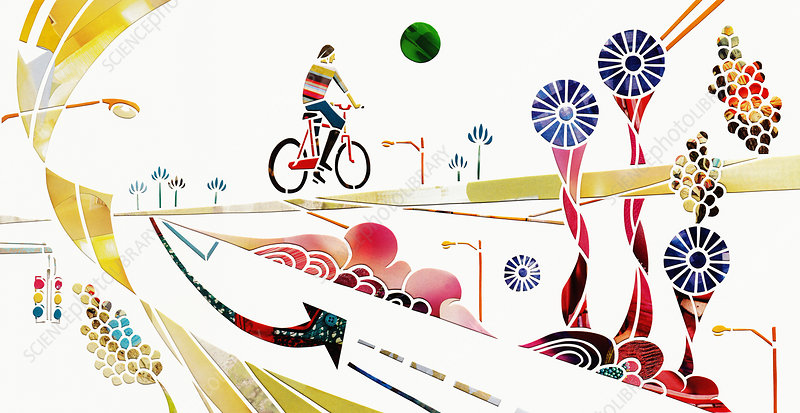 Cyclist on journey through abstract landscape, illustration