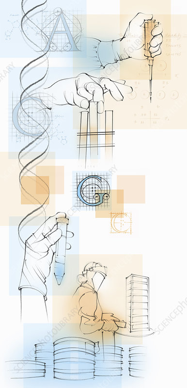 Image of scientists and genetic research, illustration