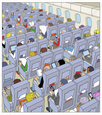Passengers on airplane flight, illustration