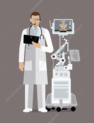 Doctor using digital technology to communicate, illustration