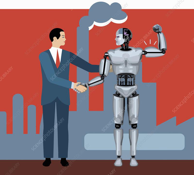Businessman shaking hands with robot, illustration