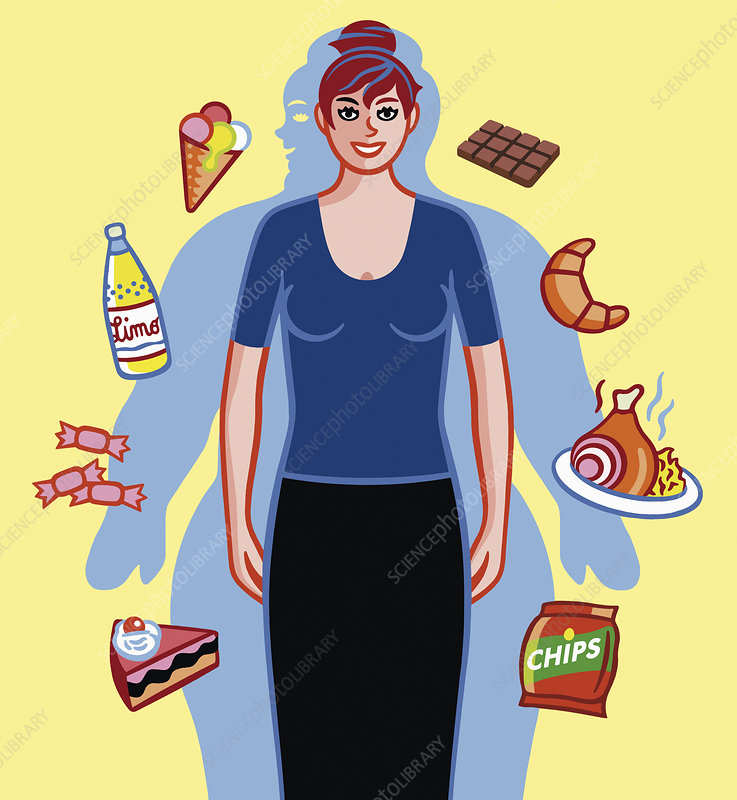 Woman pleased at losing weight, illustration