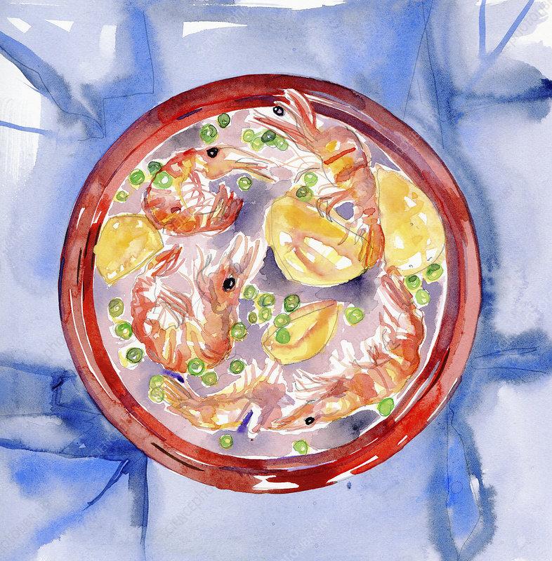 Bowl of paella, illustration