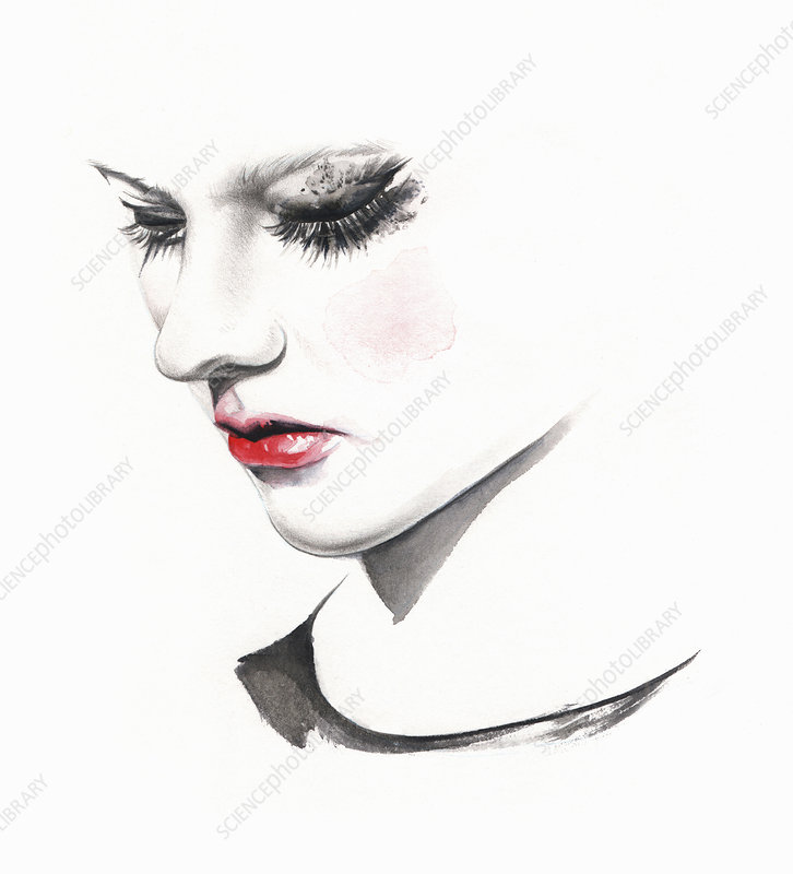 Sad woman crying with smudged makeup, illustration