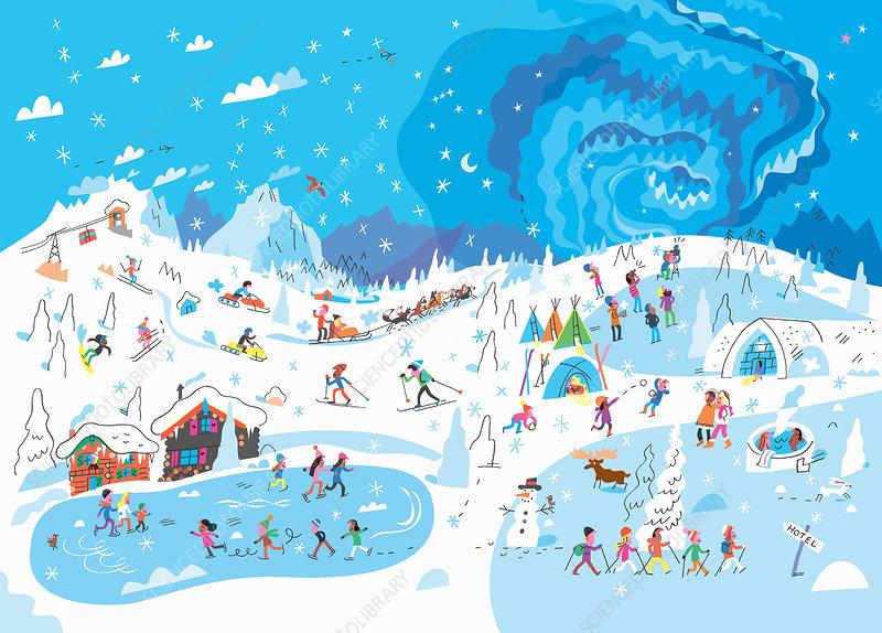 People enjoying winter activities, illustration