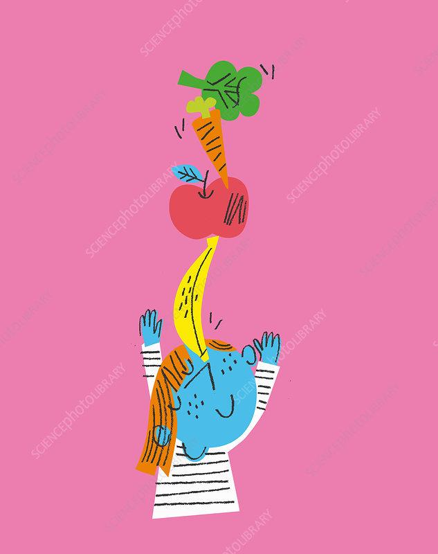 Child balancing fruit and vegetables, illustration