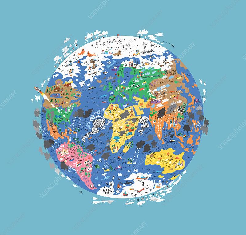 Rain and snow storms around illustrated globe, illustration