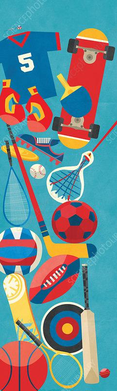 Sports equipment, illustration