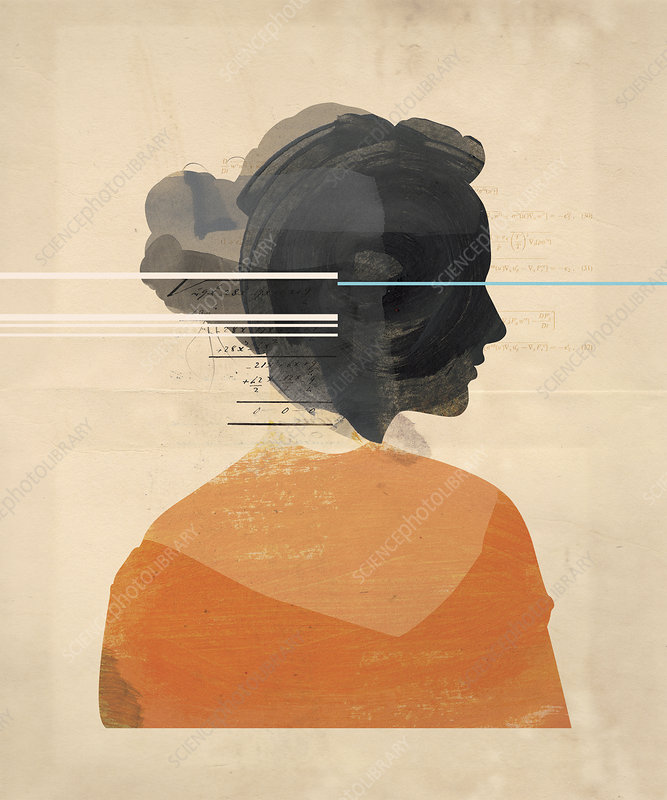 Numbers and equations over profile of woman, illustration