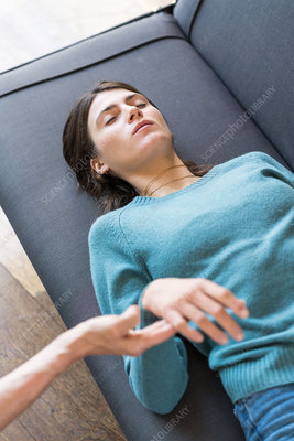 Young woman undergoing (No Suggestions) hypnosis