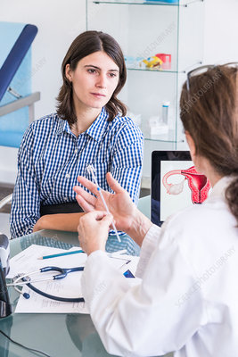 Doctor discussing intrauterine device with a woman