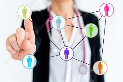 Conceptual image of network and doctor