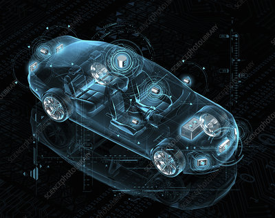 Design for electric driverless car, illustration