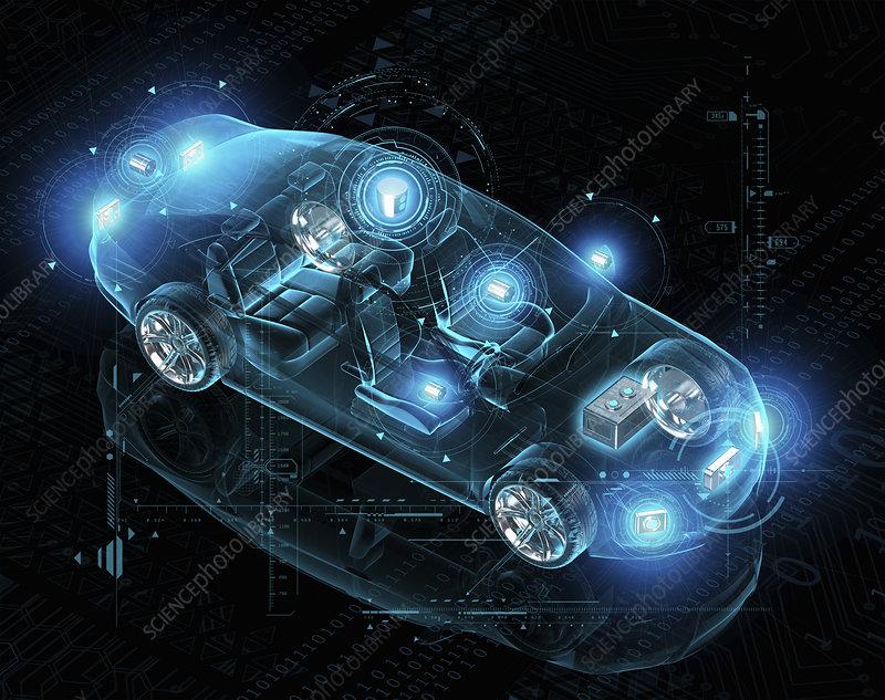 Design for electric driverless car, illustration