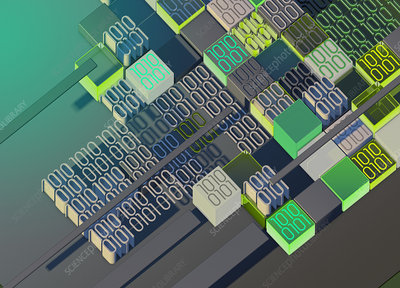 Blocks of binary code, illustration