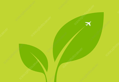 Airplane flying over green leaf, illustration