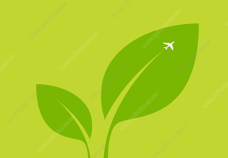 Airplane flying over green leaf, illustration