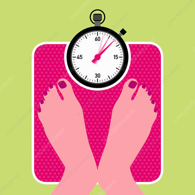 Woman on bathroom scales with stopwatch ticking, illustratio