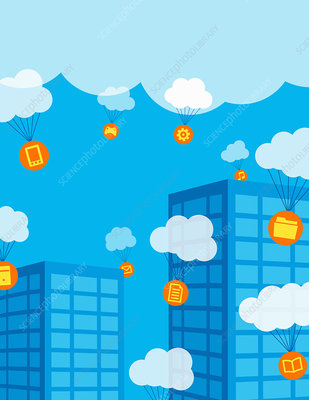 Cloud computing, conceptual illustration