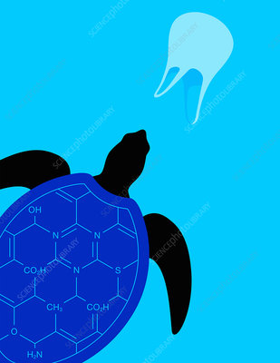 Turtle swimming in plastic pollution, illustration