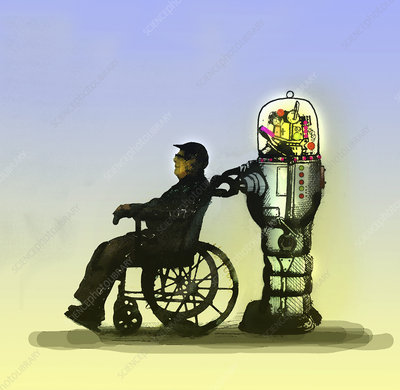 Robot pushing elderly man in wheelchair, illustration