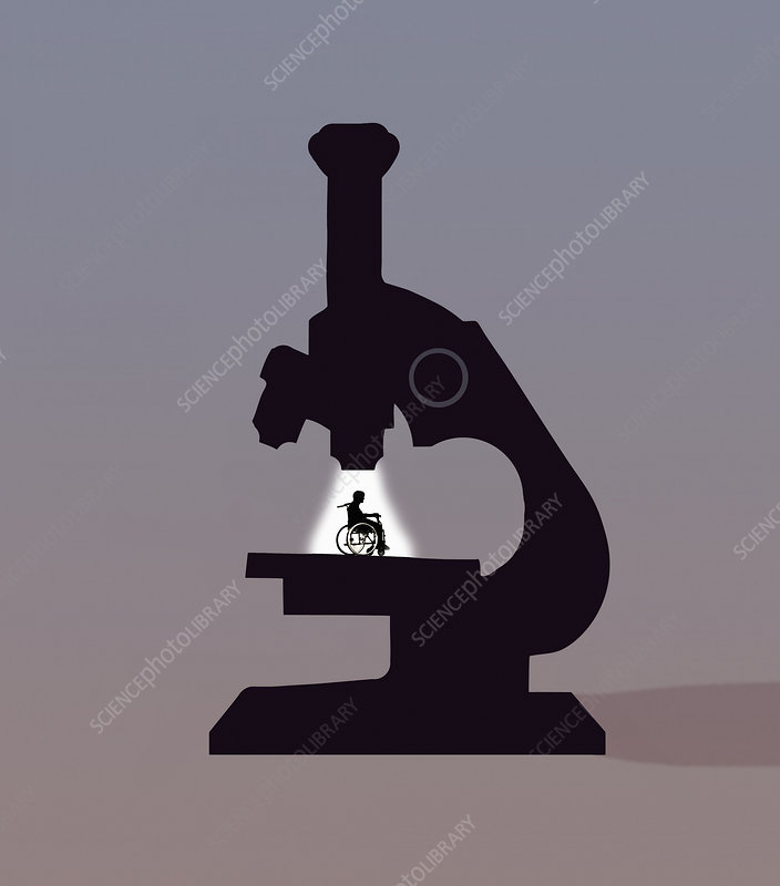 Disabled man under the microscope, illustration