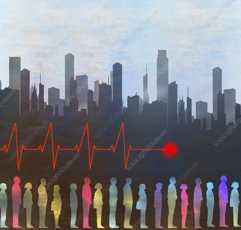 Urban health, conceptual illustration