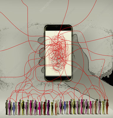 Tangled lines connecting smart phone to lots of people, illu