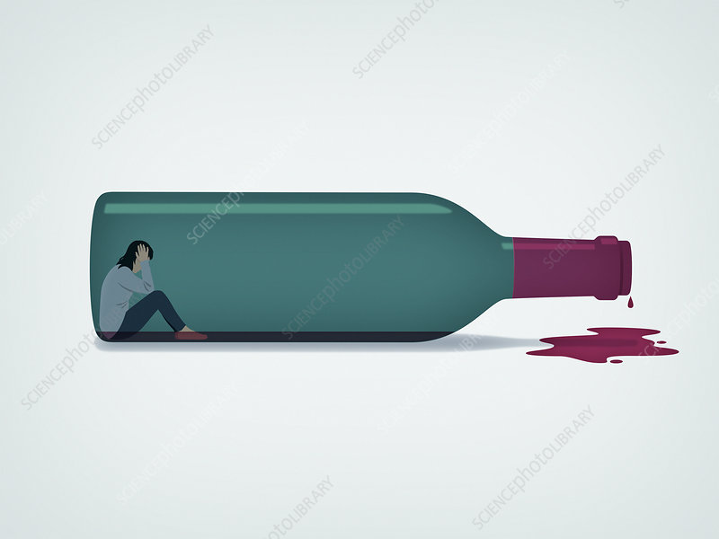 Woman trapped inside of wine bottle, illustration