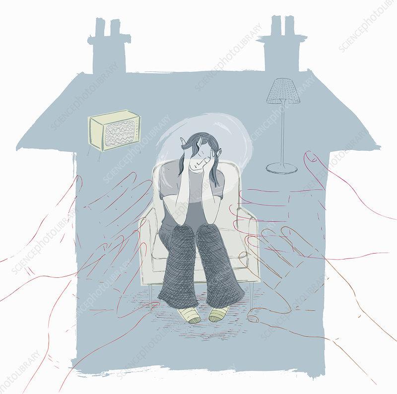 Depressed teenager, illustration