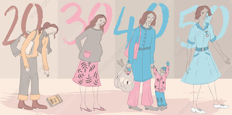 Life stages of woman, illustration
